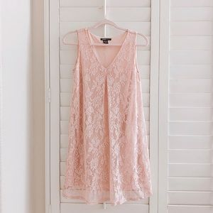 Light pink vneck lace babydoll dress small